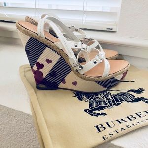 Burberry Heart Wedge Sandals, 39.5